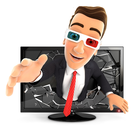 3D glasses: 3d businessman coming out of 3d television, isolated white background Stock Photo