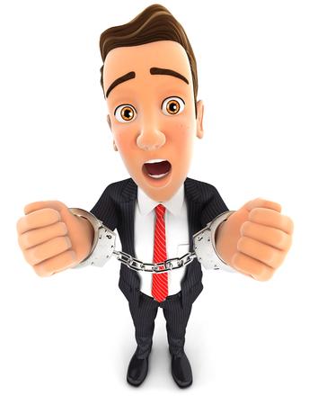 3d zakenman met de hand in handboeien, witte achtergrond