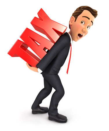 3d businessman carrying heavy tax word, isolated white background 写真素材