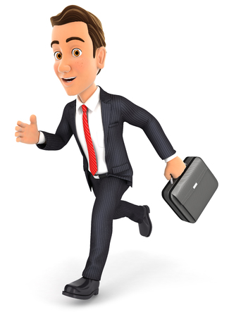 3d businessman running with briefcase, isolated white background