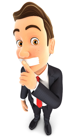 shushing: 3d businessman silence gesture, isolated white background