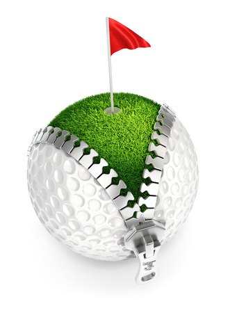 unzip: 3d unzip golf ball concept, isolated white background Stock Photo