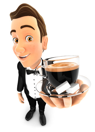 3d waiter holding a cup of coffee, isolated white background