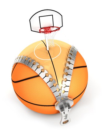unzip: 3d unzip basket ball concept, isolated white background