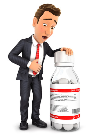 stressed businessman: 3d businessman stomach ache with medicine pills, isolated white background