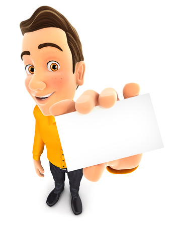 hand job: 3d man holding business card, isolated white background Stock Photo