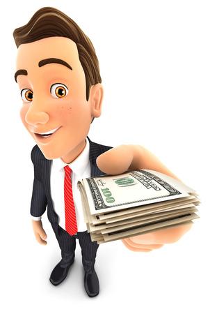 3d zakenman met een stapel dollarbiljetten, witte achtergrond