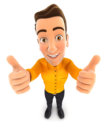 two thumbs up: 3d man thumbs up, isolated white background Stock Photo