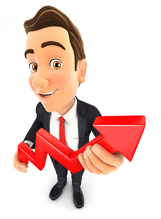 profiting: 3d businessman holding a growing curve, isolated white background Stock Photo