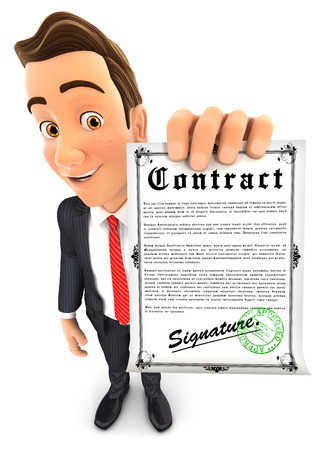 signed: 3d businessman holding signed contract, isolated white background