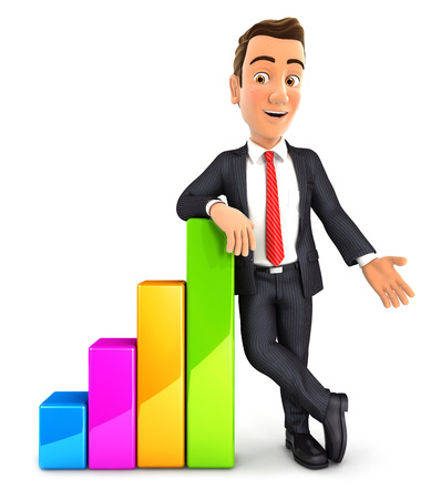 3d businessman leaning against bar chart, isolated white background