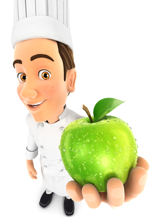 cartoon kitchen: 3d head chef holding fresh apple, isolated white background