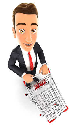supermarket trolley: 3d businessman empty supermarket trolley, isolated white background Stock Photo