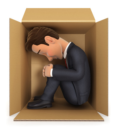 uncomfortable: 3d businessman inside cardboard box, isolated white background Stock Photo
