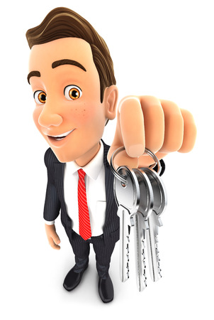 3d businessman holding a bunch of keys, isolated white background