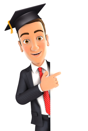 3d businessman with mortarboard pointing to right blank wall, isolated white background