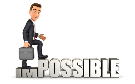 possible: 3d businessman turning impossible into possible, isolated white background