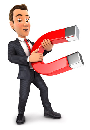 polarity: 3d businessman holding a magnet, isolated white background