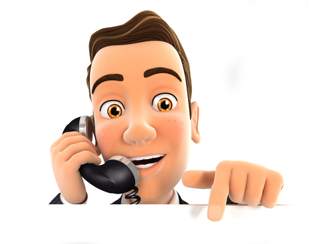 3d 사업가 전화 및 빈 벽, 격리 된 흰색 배경을 가리키는