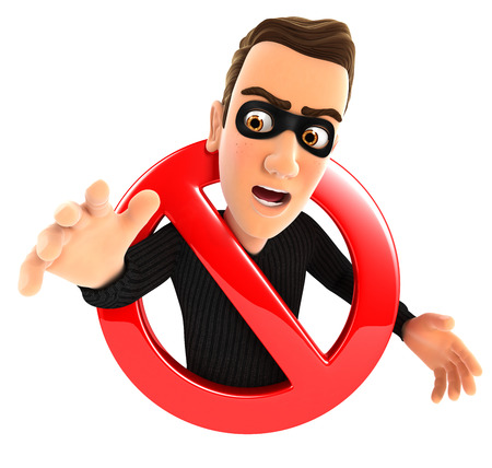 3d thief surrounded by a forbidden sign, isolated white background