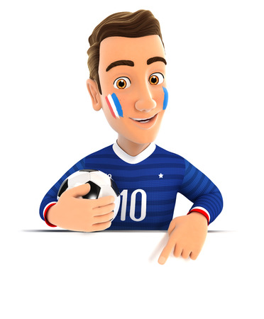 soccer fan: 3d french soccer fan pointing to empty wall, isolated white background