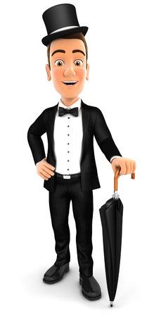 hombre con sombrero: elegante caballero 3d con el paraguas, fondo blanco aislado