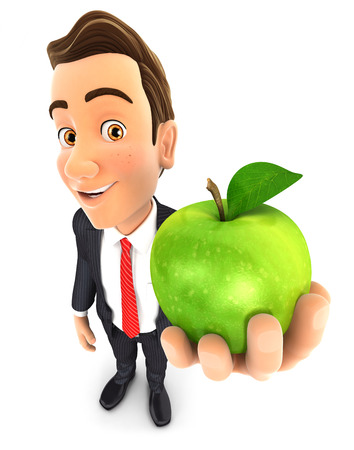 green apple isolated: 3d businessman holding green apple, isolated white background Stock Photo