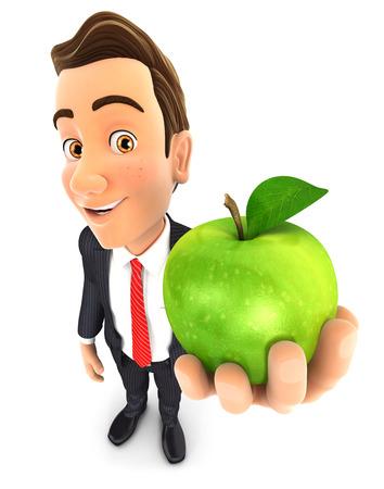 manzana verde: 3d hombre de negocios que sostiene la manzana verde, fondo blanco aislado