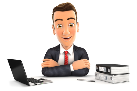 3d businessman sitting at desk with laptop and ring binder, isolated white background