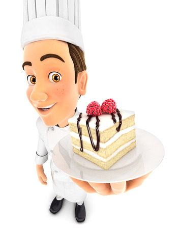 piece of cake: 3d head pastry chef holding piece of cake, isolated white background