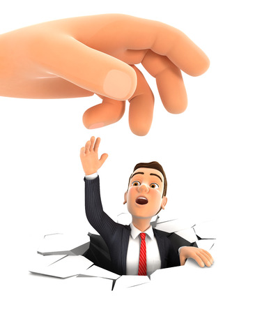 unsafe: 3d big hand helping businessman, isolated white background Stock Photo