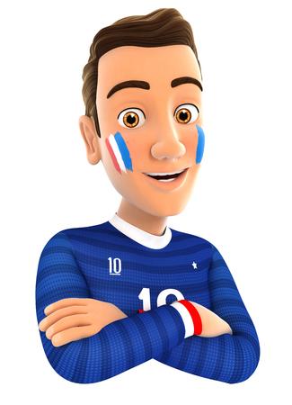 3d Franse voetbal fan met de armen gekruist, witte achtergrond