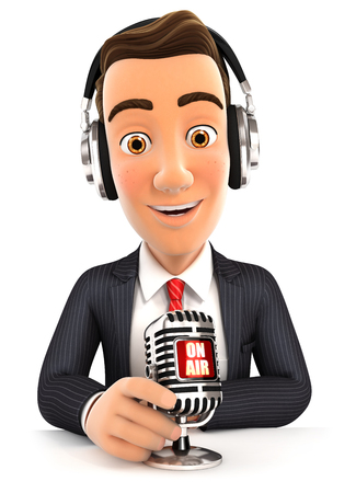 interview: 3d businessman radio presenter on air, isolated white background