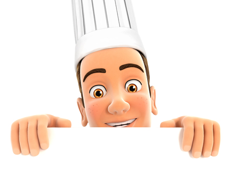 hiding: 3d head chef hiding behind white wall, isolated white background