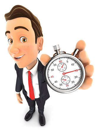 3d businessman holding a stopwatch, isolated white background Reklamní fotografie