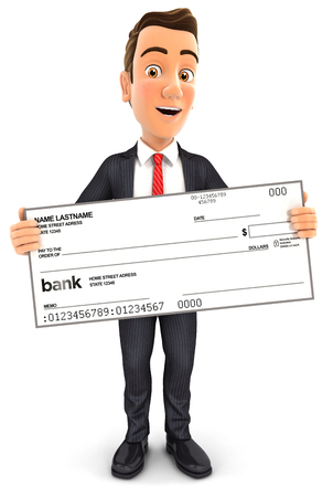3d businessman holding big bank check, isolated white background Stockfoto