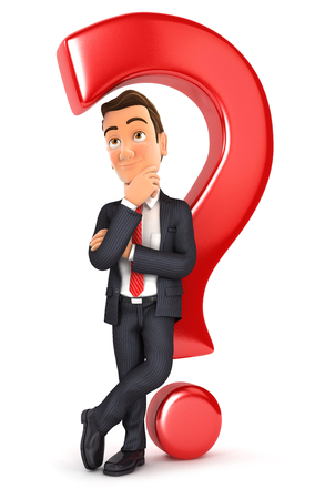 back problem: 3d businessman leaning back against question mark, isolated white background Stock Photo