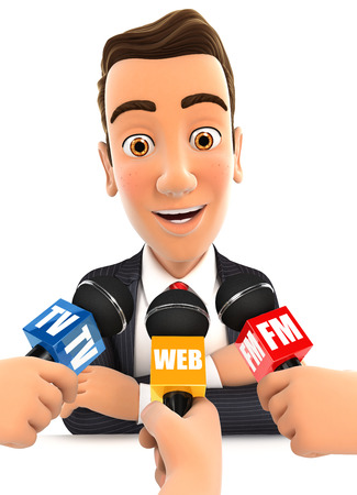 spokesperson: 3d businessman being interviewed media, isolated white background Stock Photo