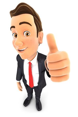Pose positive d'homme d'affaires 3D avec le pouce vers le haut, fond blanc isolé Banque d'images - 55384865