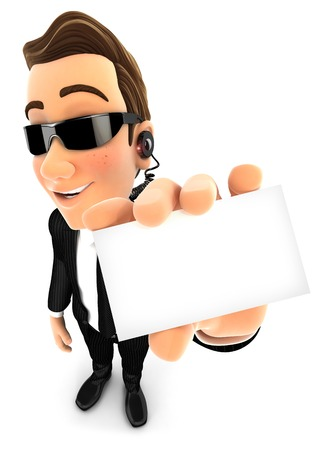agent de s�curit�: agent de s�curit� 3d tenant la carte d'entreprise, fond blanc isol�