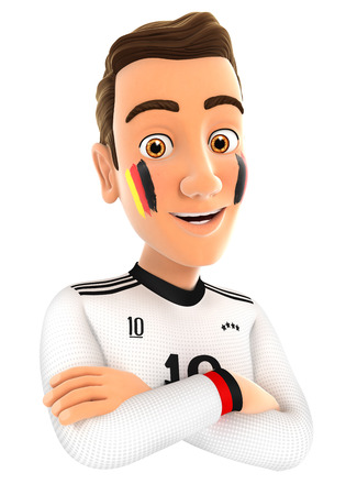 german: 3d german soccer fan with arms crossed, illustration with isolated white background