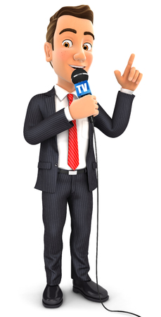 3d businessman reporter with microphone, isolated white background Stock Photo