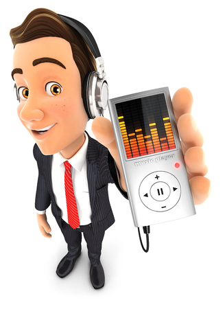 music player: 3d businessman listening music on mp3 player, isolated white background