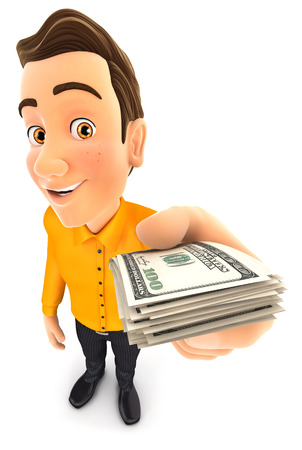 dollar bills: 3d man holding a stack of dollar bills, isolated white background