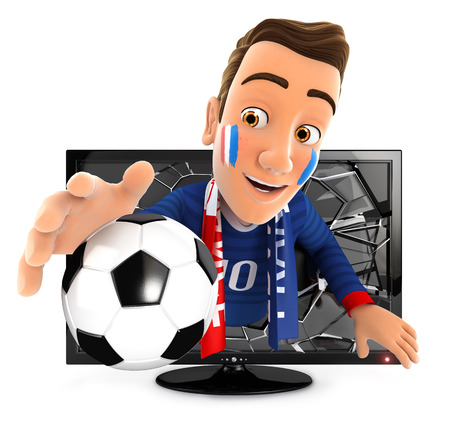soccer fan: 3d french soccer fan coming out of television, isolated white background Stock Photo