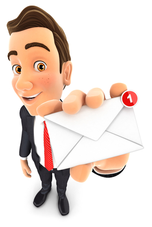 Receiving: 3d businessman receiving one new message, isolated white background Stock Photo