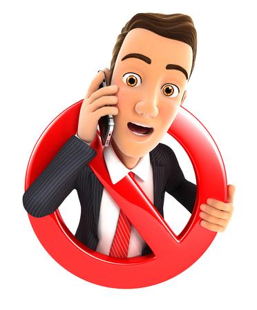 telefono caricatura: 3d hombre de negocios en el teléfono rodeado por un signo de prohibido, fondo blanco aislado