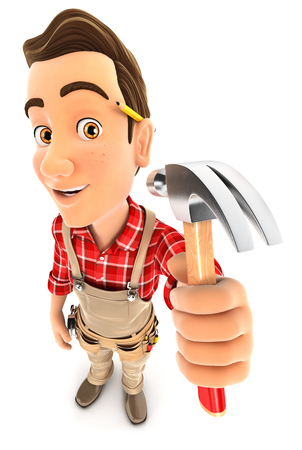 claw hammer: 3d handyman holding a claw hammer, illustration with isolated white background