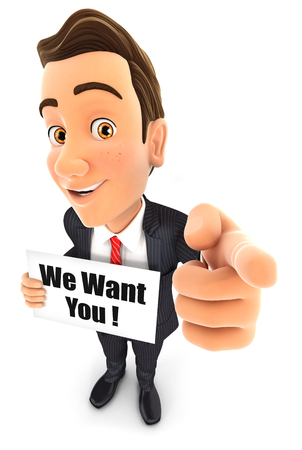 want: 3d businessman with we want you message, isolated white background Stock Photo
