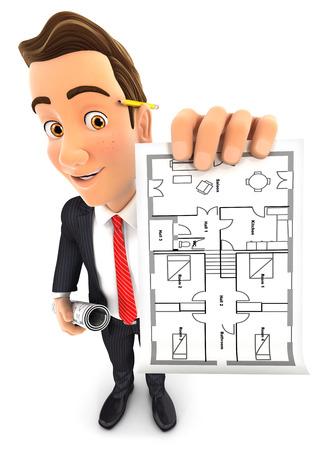 arquitecto caricatura: 3d hombre de negocios la celebraci�n de plan de la casa, fondo blanco aislado